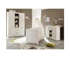 Komplett Babyzimmer »Landhaus« Babybett+Wickelkommode + Kleiderschrank, (3-tlg.) in pinie NB, weiß, weiß, piniefarben weiß