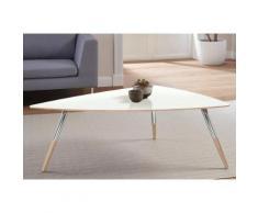 andas Design Couchtisch »stick« mit Chromdetail an den Beinen, weiß, white oak Laminat weiß