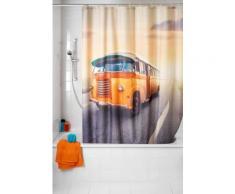 Wenko Anti-Schimmel Duschvorhang Vintage Bus, 180/200 cm, waschbar, bunt, Mehrfarbig