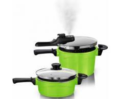 STONELINE® Schnellkochtopf-Set, Aluguss, Induktion, grün, Unisex, grün/silberfarben