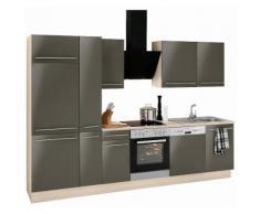OPTIFIT Küchenzeile ohne E-Geräte »Bern«, Breite 300 cm, schwarz, lava Lack-Optik/akaziefarben