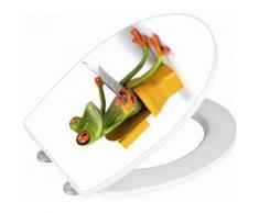 Wenko WC-Sitz Hochglanz Acryl Frog News, Absenkautomatik, Fix-Clip Hygiene Befestigung, bunt, Mehrfarbig
