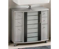 Waschbeckenunterschrank, Schildmeyer, »Nikosia«, mit Glastür, silberfarben, silber-anthrazit