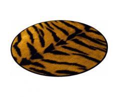 Teppich, Zala Living, »Animal Print Tiger« in Fell-Optik, rund, gelb, Gelb Braun