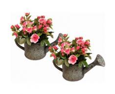 Kunstpflanze »Wildrosen in Gießkanne« (2er Set), rosa, rosa