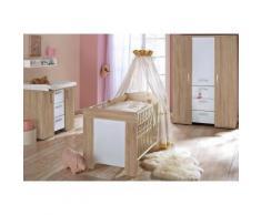 Komplett Babyimmer »Michi«: Babybett+Wickelkommode+Kleiderschrank, (3-tlg.) eiche NB/weiß, braun, eiche sägerau / weiß matt