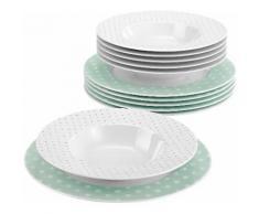 Seltmann Weiden Tafelservice, Porzellan, 12-teilig, »NO LIMITS«, grün, Unisex, weiß/mintgrün
