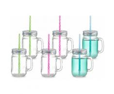 Zeller Present Trinkglas mit Henkel & Strohhalm, »Countrystyle« (6er Set), transparent, Unisex, transparent