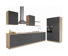 set one by Musterring Küchenzeile »Navaro« ohne E-Geräte, Breite 330 cm, grau, nerograu Samtlack
