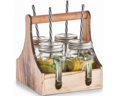 Zeller Present Trinkgläser in Holzkiste, 5 Teile, transparent, Unisex, transparent/holzfarben/silberfarben