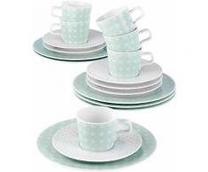 Seltmann Weiden Kaffeeservice, Porzellan, 18-teilig, »NO LIMITS«, grün, Unisex, weiß/mintgrün