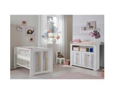 Baby Spar-Set »Amrum« Babybett + Wickelkommode, (2-tlg.), in Pinie NB Struktur weiß/Holzplankenoptik, natur, Pinie NB Struktur weiß/Holzplankenoptik