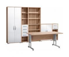 Maja Möbel Büromöbel-Set (6-tlg.) »1200«, natur, Eichefb. - weiß Hochglanz