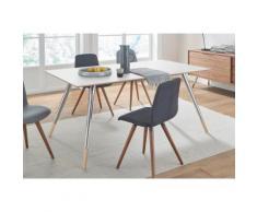 andas Esstisch »stick« mit Chromabsetzungen an den Beinen, in zwei Breiten, weiß, white oak/Laminat weiß