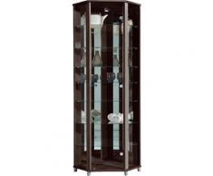 Eckvitrine, Höhe 172 cm, 7 Glasböden, braun, wengefarben