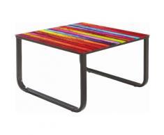 INOSIGN Beistelltisch quadratisch, mit Glasplatte, schwarz, schwarz/bunt