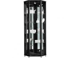 Eckvitrine, Höhe 172 cm, 4 Glasböden, schwarz, schwarz