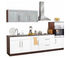 Küchenzeile »Aachen«, mit E-Geräten, Breite 290 cm, weiß, Weiß Glanz