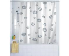 WENKO Duschvorhang Schnecke, 180 x 200 cm, waschbar, weiß, weiß
