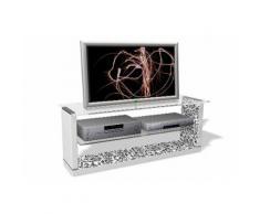 TV Rack, weiß, Weiss/Floraldekor