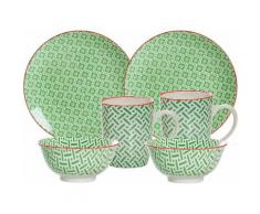 Ritzenhoff & Breker Frühstück-Set, grün, Porzellan, 6 Teile, »MAKINA«, grün, Unisex, grün/weiß/rot