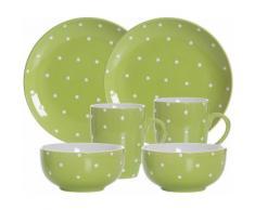 Ritzenhoff & Breker Frühstück-Set, Keramik, 6 Teile, »PINTO«, grün, Unisex, grün/weiß