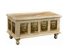 THE WOOD TIMES Truhen-Couchtisch «Buddha», Breite 90 cm, natur, beige/gold