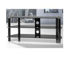 TV-Rack, Just Racks, Breite 120 cm, schwarz, Schwarzglas