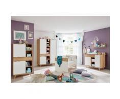 Komplettzimmer »Berlin« Babybett+ Wickelkommode+Kleiderschrank+ Beistellschrank+Wandboard (5-tlg), braun, eichefarben honig/weiß matt