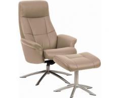 Set: Relaxsessel mit Hocker »Scandi 120«, mit integrierter stufenloser Kopfpolsterverstellung, Leder PRIME