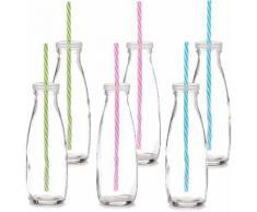 Zeller Present Trinkflasche mit Strohhalm, 475 ml (6er Set), transparent, Unisex, transparent
