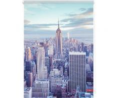 Seitenzugrollo, Lichtblick, »Klemmfix Dekor New York«, Lichtschutz, Fixmaß, ohne Bohren, blau, blau
