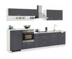 HELD MÖBEL Küchenzeile mit E-Geräten »Tampa«, Breite 310 cm, grau, basaltgrau
