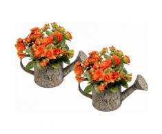 Kunstpflanze »Wildrosen in Gießkanne« (2er Set), orange, orange