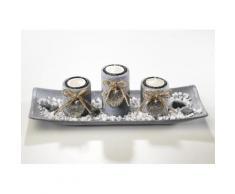 Home affaire Dekoschale, mit 3 Kerzenhaltern, inkl. Steindekoration, grau, grau