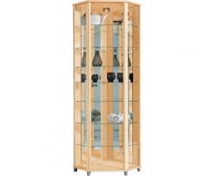 Eckvitrine, Höhe 172 cm, 7 Glasböden, natur, ahornfarben