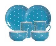 Ritzenhoff & Breker Frühstück-Set, Keramik, 6 Teile, »PINTO«, blau, Unisex, blau/weiß