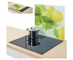 Zeller Present Herdblende-/Abdeckplatte, »Zitrone«, 56 x 50 cm, weiß, Unisex, weiß, grün, gelb