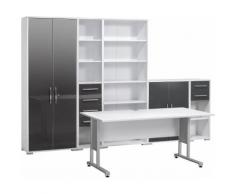Maja Möbel Büromöbel-Set (6-tlg.) »1200«, grau, Icy-weiß - grau Hochglanz