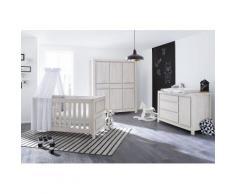 Pinolino Babyzimmer Set (3-tlg) Kinderzimmer »Line« extrabreit groß, grau, Unisex, eiche/grau