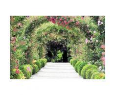 Home affaire Fototapete »Rose Arch Garden«, 350/260 cm, grün, grün/rosa