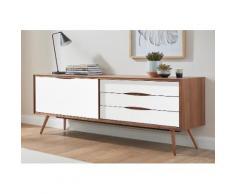 andas Sideboard »stick« in walnut oder white oak, Breite 200 cm, braun, walnut/Laminat weiß