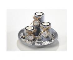 Home affaire Dekoschale mit 3 Kerzenhaltern und Steindekoration, grau, grau