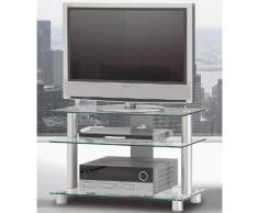 TV-Rack, Just Racks, Breite 85 cm, silberfarben, Klarglas