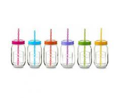 Zeller Present Trinkglas mit Strohhalm, »Color Lid« (6er Set), bunt, Unisex, bunt