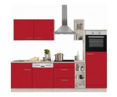 OPTIFIT Küchenzeile »Kalmar« mit E-Geräten, Breite 270 cm, rot, rot Glanz