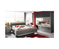 Rauch Schlafzimmer-Set (4 tlg.), grau, Set aus Schwebetürschrank, Bett inkl. Bettbank und 2 Nachttischen