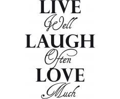 Wandspruch »Live well laugh often?.«, schwarz