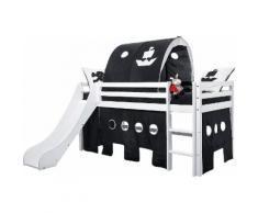 Hoppekids Halbhohes Bett inkl. Rutsche mit Absturzschutzseiten »Pirat«, Set aus Bett, Rutsche, Vorhang-Set, Matratze und Rollrost