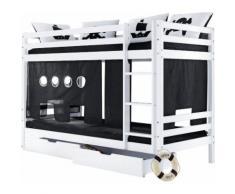 Hoppekids Etagenbett »Pirat«, Liegefläche 70/160 cm, schwarz, Set Etagenbett inkl. Vorhang, 2 Matratzen und 2 Rollrosten